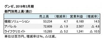 グンゼ、2019年3月期 部門別売上高(表2)