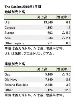 2019年1月期 地域別・業態別別売上高(表2)