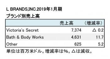 2019年1月期 ブランド別売上高(表2)