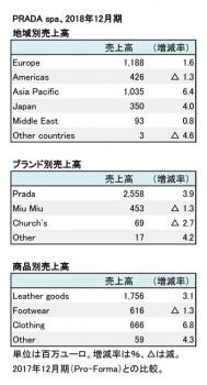 2018年12月期 地域別・ブランド別・商品別売上高(表2)