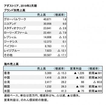 2019年2月期 ブランド別・地域別売上高(表2)