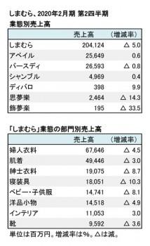 2020年2月期 第2四半期 部門別売上高(表2)