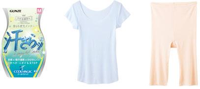 (写真左)汗取り付フレンチ袖インナー ホワイトサックス ¥1,500+税 (写真右)レギュラーショーツ(5分丈)ペールベージュ ¥1,100+税