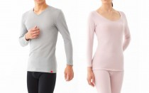 写真左(メンズ):ネック9分袖シャツ、タイツ 写真右(レディス):8分袖インナー、フルレングス丈
