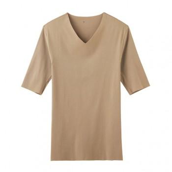 CUT OFF HOT-ON COTTON Vネック5分袖シャツ(YV7111) 希望小売価格 ¥1,800 + 税
