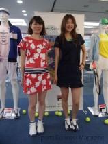 「フィラ」テニスウエア。 人気のプリント柄(左)とレースモデル(右)