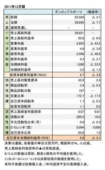 ダンロップスポーツ、2011年12月期 財務諸表(表2)