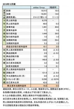 adidas Group、 2016年12月期 財務諸表(表1)