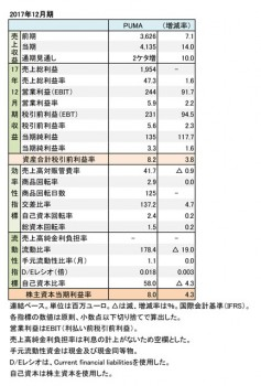 PUMA、2017年12月期 財務諸表(表1)