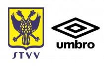 「STVV」のロゴ。来シーズンから「アンブロ」のウエアを着用する(左) 「アンブロ」ブランド。ウエアやシューズを提供する(右)