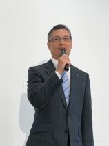 デサント、石本雅敏社長 (今年7月、アパレル研究開発拠点「DISC」の内覧会にて)