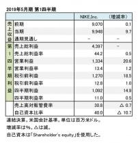 ナイキ、2019年5月期 第1四半期 財務数値一覧(表1)