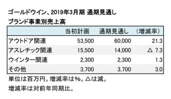 ゴールドウイン、ブランド事業別 通期見通し(表2)