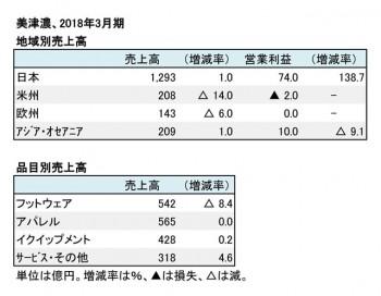 美津濃、2018年3月期 地域別・品目別売上高(表2)