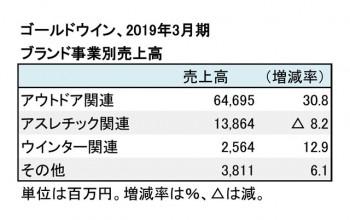 ゴールドウイン、2019年3月期 ブランド事業別売上高(表2)