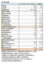 Callaway Golf Company、2019年12月期 財務数値一覧(表1)