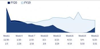 日本におけるWeek22週までの直営推移(表1)