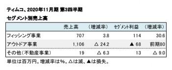 ティムコ、2020年11月期 第3四半期 セグメント別売上高(表2)