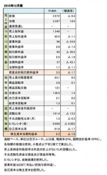 PUMA、2015年12月期 財務数値一覧(表2)